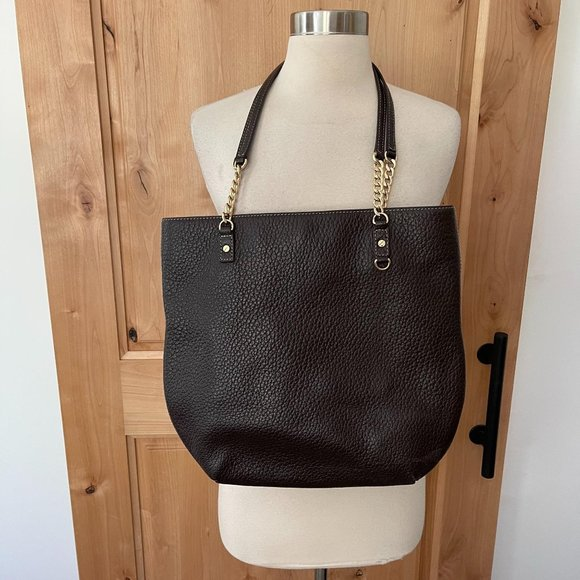 Michael Kors Pebbled Leather Chain Tote Shoulder B